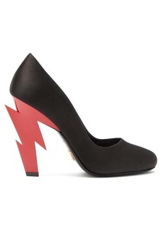 Prada Lightning-bolt heel satin pumps