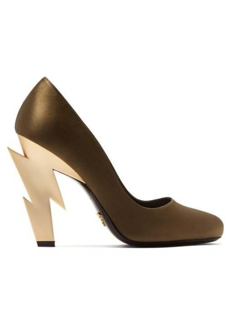 Prada Lightning bolt-heel satin pumps