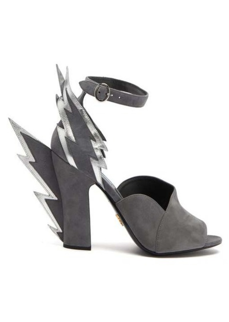 Prada Lightning-bolt suede sandals