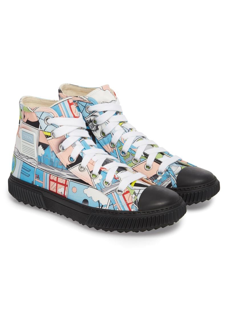8f614f9fa3d1b1 Prada Prada Linea Rossa Comic Print High Top Sneaker (Men)