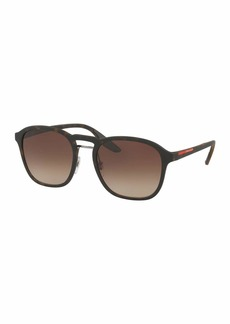 Prada Linea Rossa Men's Square Mirrored Sunglasses  Havana