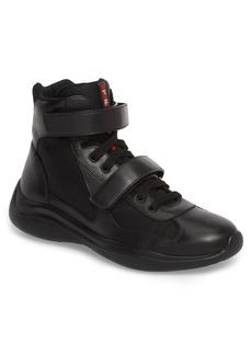 Prada Linea Rossa Plum Bike Strap High Top Sneaker (Men)
