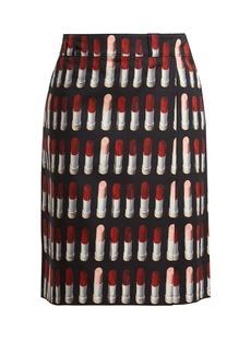 Prada Lipstick-print midi skirt