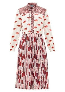 Prada Lipstick-print pleated shirt dress