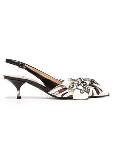 Prada Lipstick-print slingback kitten-heel leather pumps