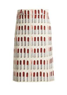 Prada Lipstick-print wrap midi skirt