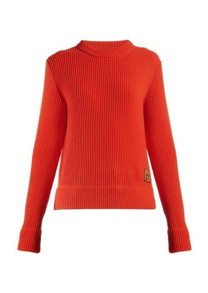 Prada Logo-appliqué ribbed-knit sweater