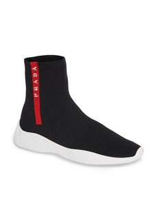 Prada Logo Band Sock Sneaker (Women)