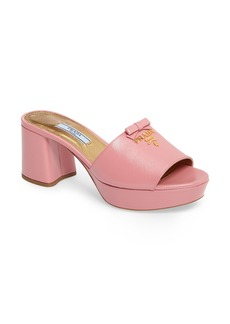 Prada Logo Block Heel Mule (Women)