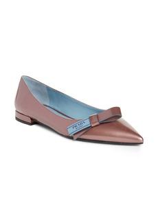 Prada Logo Bow Pointy Toe Flat (Women)