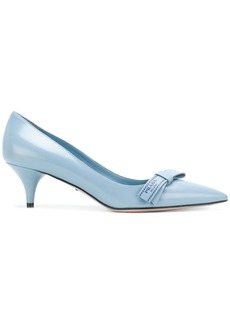 Prada logo bow pumps - Blue