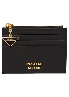 Prada Logo Charm Saffiano Leather Card Case
