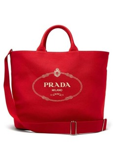 Prada Logo cotton-canvas tote