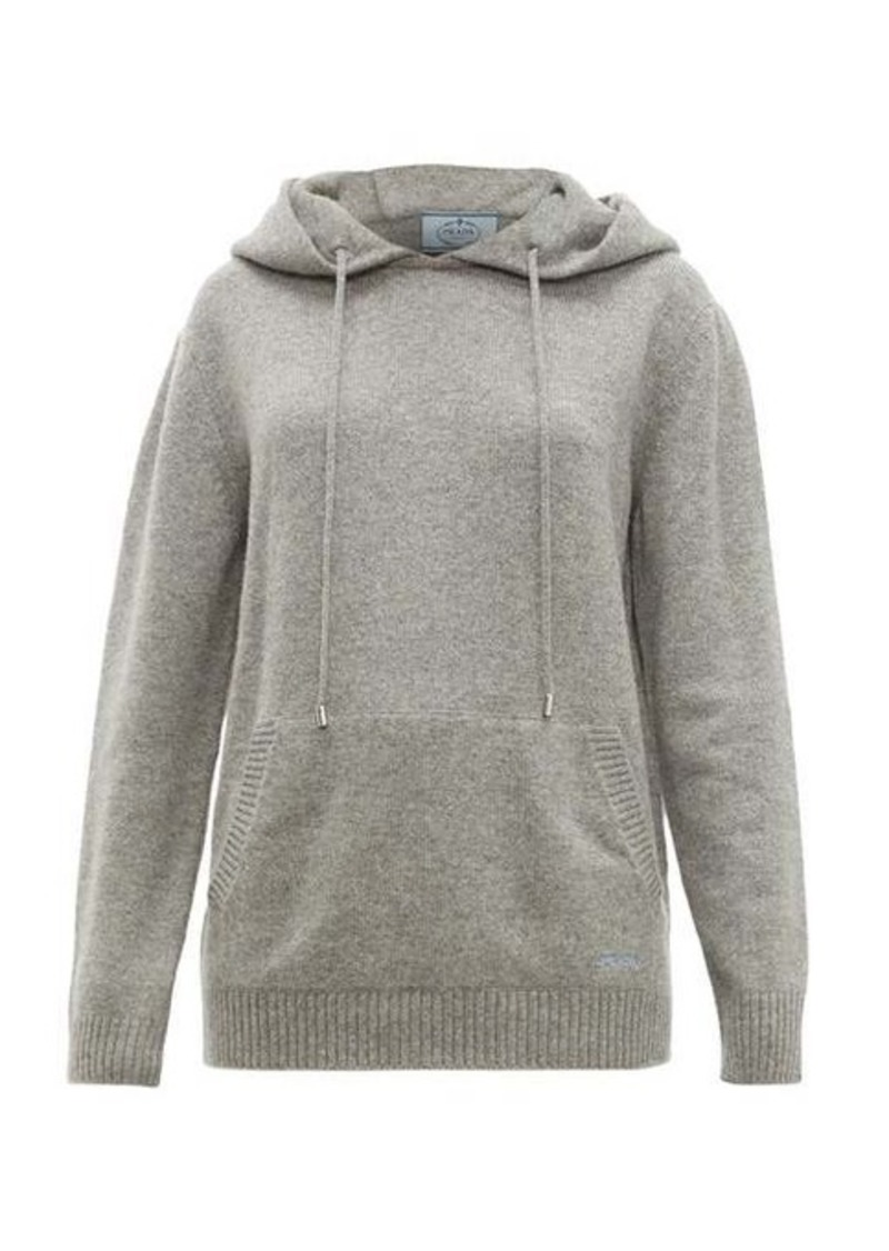 Prada Logo-embroidered cashmere hooded sweater
