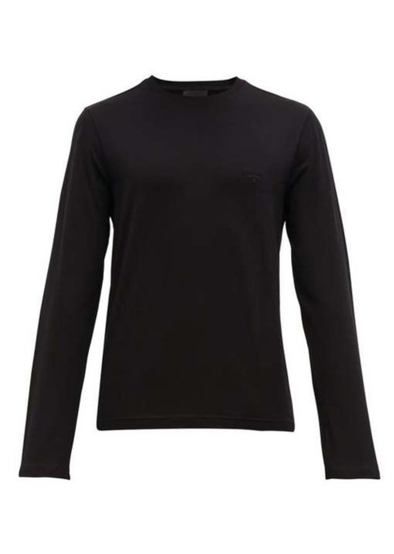 Prada Logo-embroidered cotton-blend T-shirt