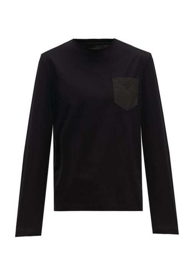 Prada Logo-embroidered cotton long-sleeve T-shirt