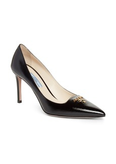 Prada Logo Hardware Pointy Toe Pump (Women)