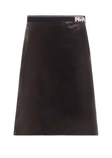 Prada Logo-intarsia leather pencil skirt