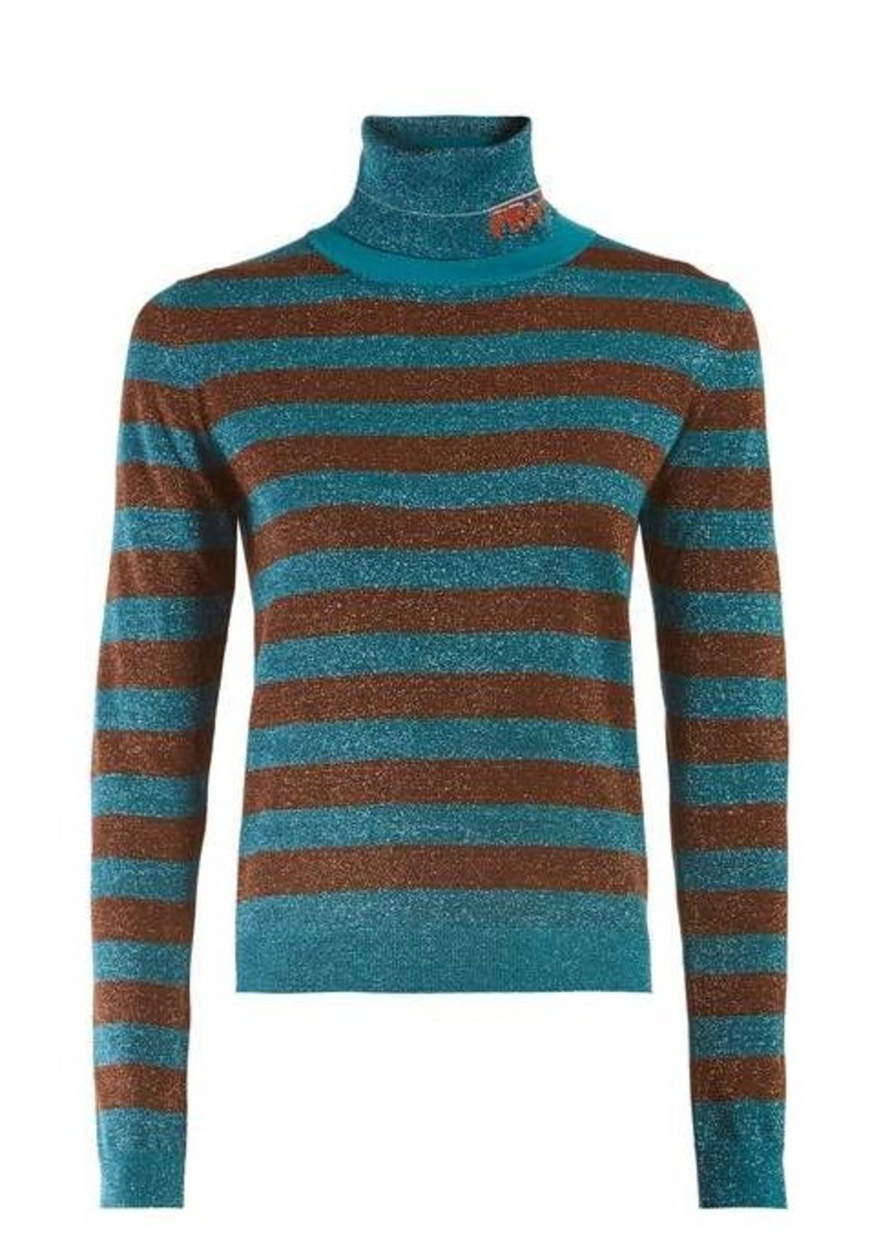 Prada Logo-intarsia metallic striped sweater