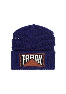 Prada Logo-intarsia wool beanie hat