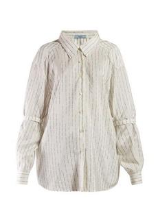 Prada Logo-jacquard silk shirt