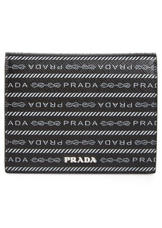 Prada Logo Leather French Wallet