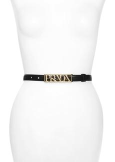 Prada Logo Letter Saffiano Leather Belt