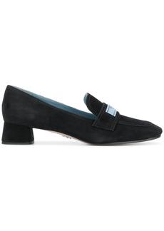Prada logo patch block heel loafers - Black