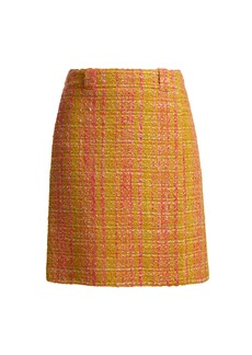 Prada Logo-patch bouclé virgin-wool skirt