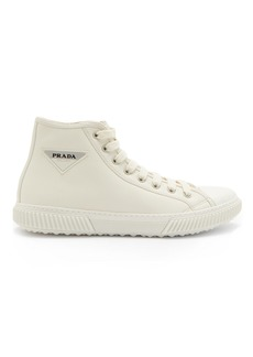 Prada Logo-patch high-top leather trainers