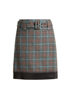 Prada Logo-patch houndstooth wool-blend skirt