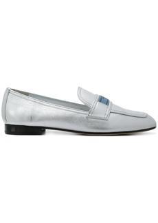 Prada Silver logo leather loafers - Metallic