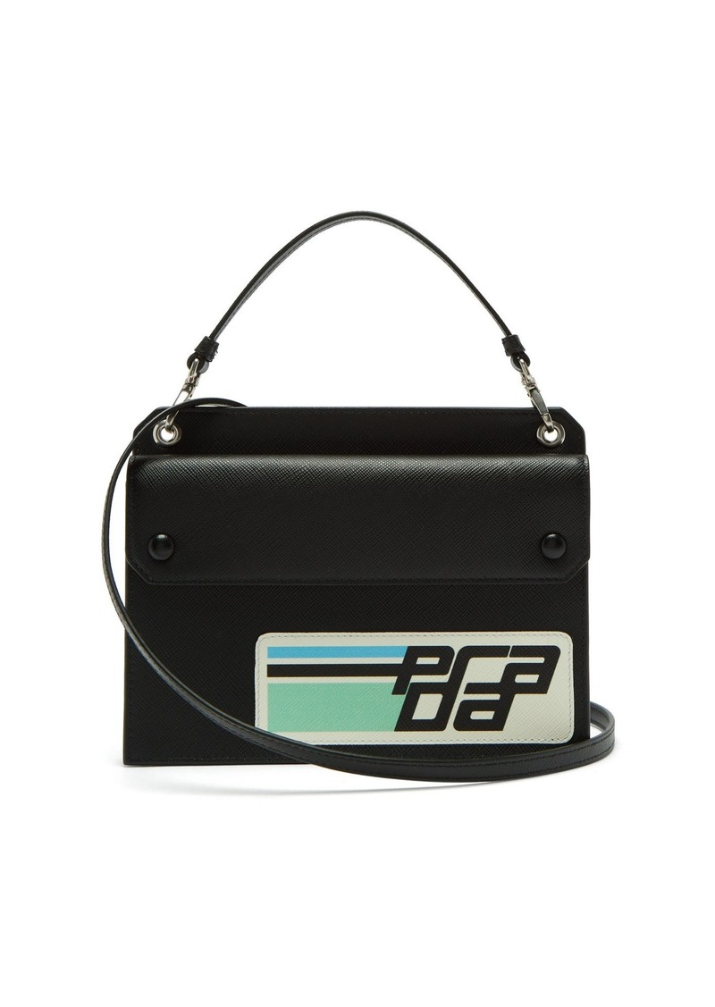 be7fd2c06338 Prada Prada Logo-patch saffiano-leather cross-body bag