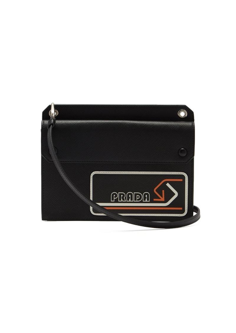 b2a39ccc3e15 Prada Logo-patch saffiano-leather cross-body bag