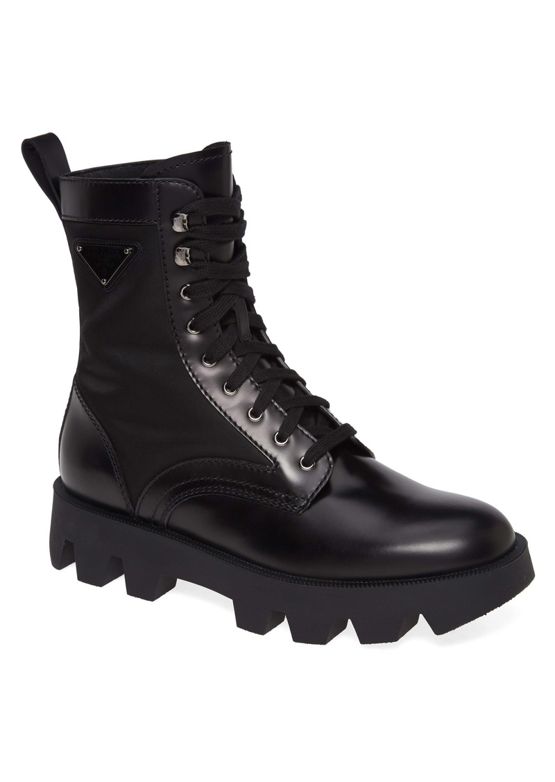 Prada Logo Plain Toe Boot (Men)