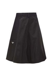 Prada Logo-plaque flared nylon-gabardine skirt