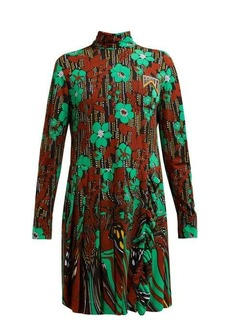 Prada Logo-plaque floral-print pleated dress
