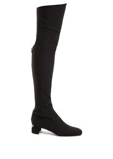 Prada Logo-plaque over-the-knee boots