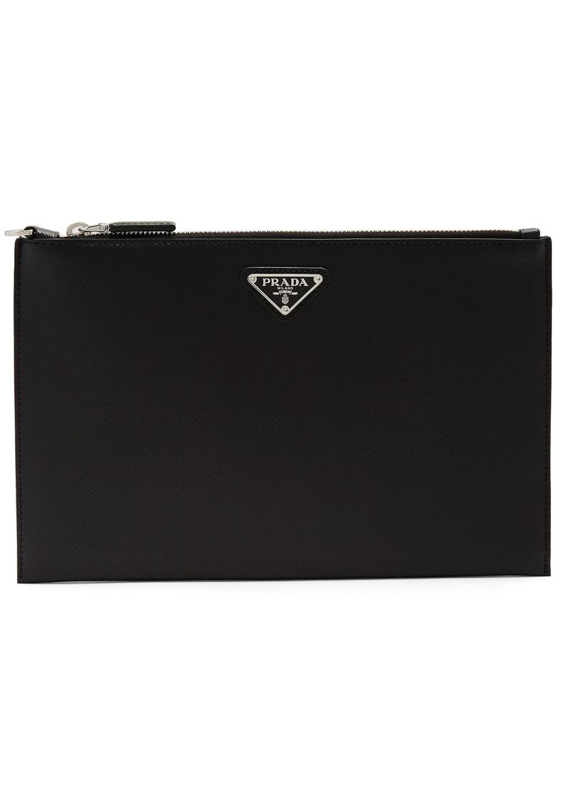 e2e87a0e85a2 SALE! Prada Prada Logo-plaque saffiano-leather pouch