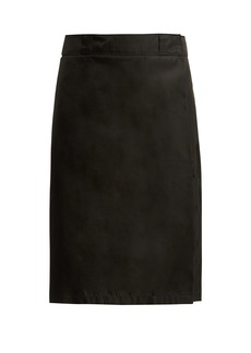 Prada Logo-plaque wrap skirt