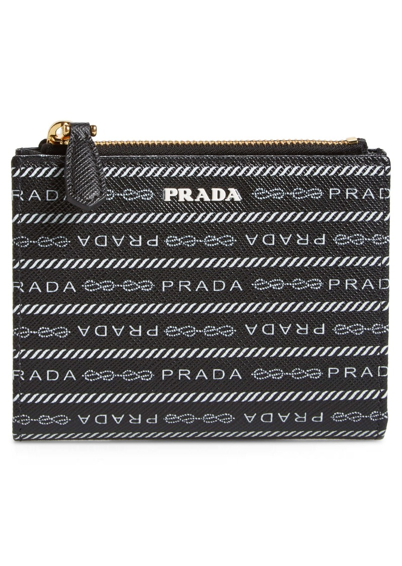 Prada Logo Print Leather French Wallet