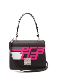 Prada Logo-printed spike-embellished top-handle bag