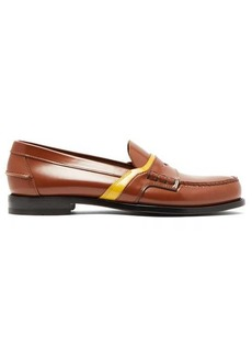 Prada Logo-saddle leather penny loafers