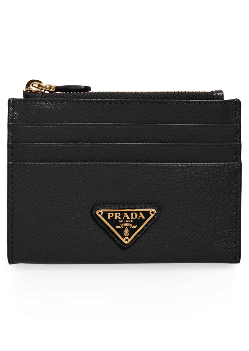 Prada Logo Saffiano Leather Card Case