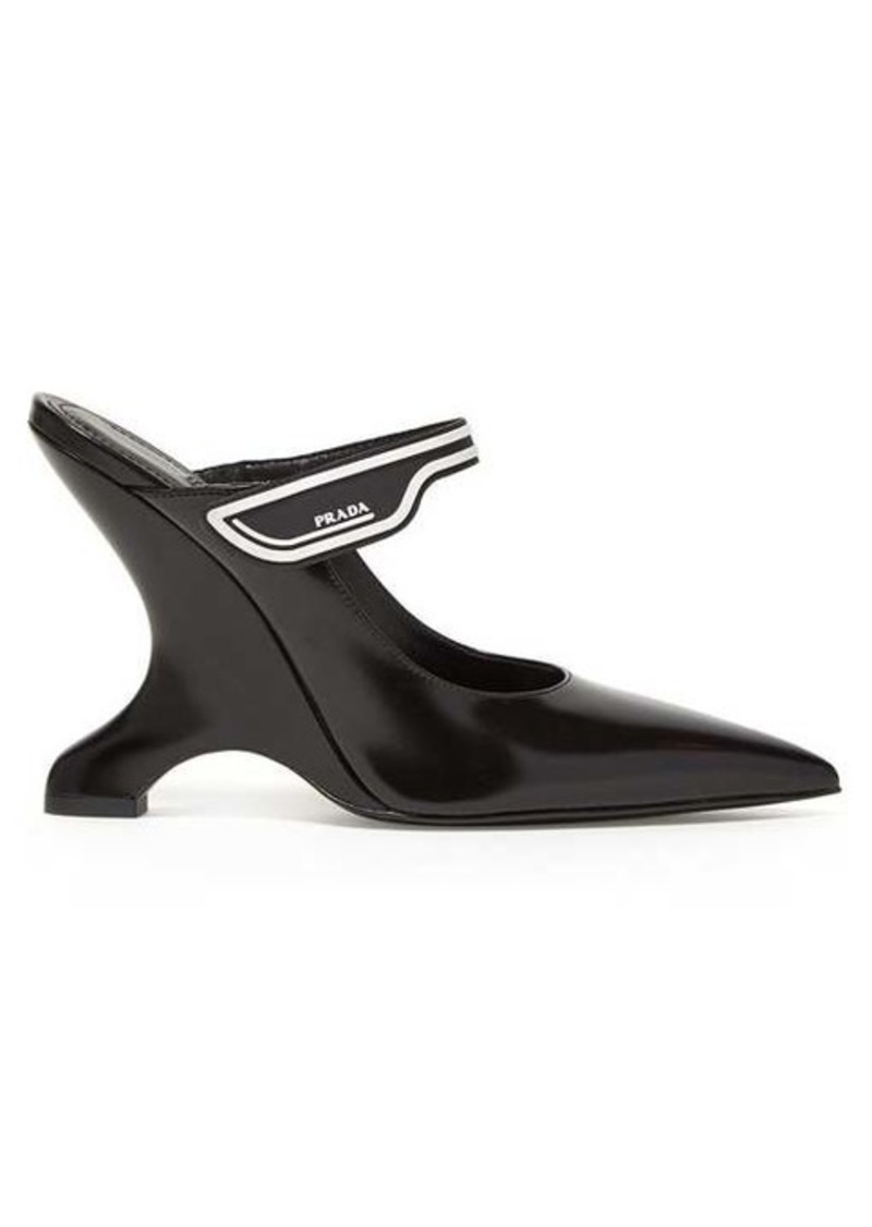 Prada Logo-strap leather Mary-Jane mules