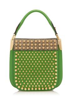 Prada Margrit Studded Lizard-Trimmed Leather Shoulder Bag
