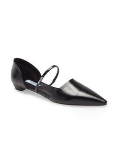 Prada Mary Jane Strap Pointed Toe Flat (Women)