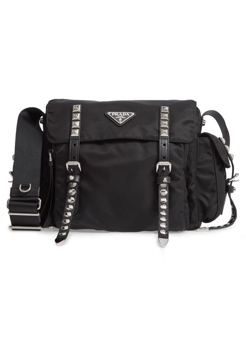 ff0da69fe3e055 Prada Prada Stud Nylon Messenger Bag | Handbags