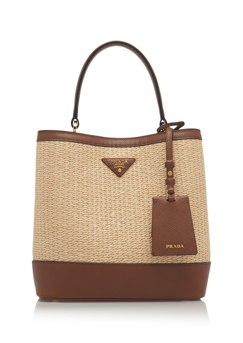 Prada Prada Medium Raffia and Saffiano Leather Double Bucket Bag ... f53b472fc8d4d