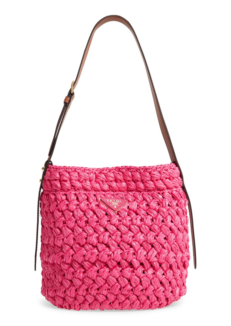Prada Medium Woven Raffia Shoulder Bag